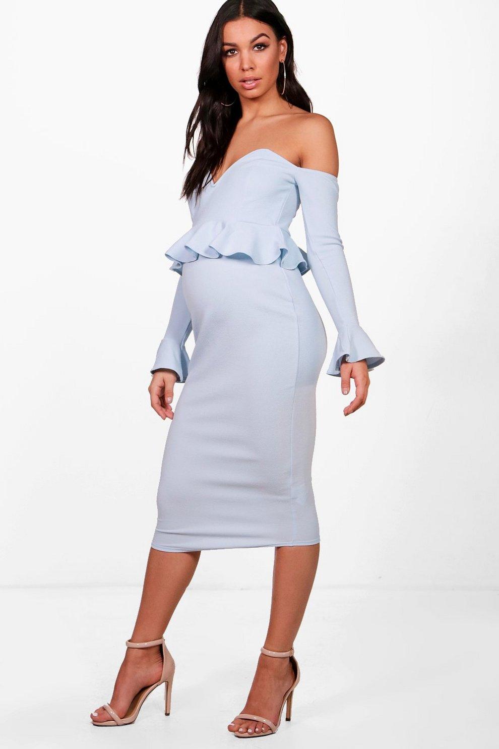 286fb5c409 Maternity Off Shoulder Midi Dress