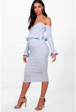 Womens Bluebell Maternity Off Shoulder Midi Dress