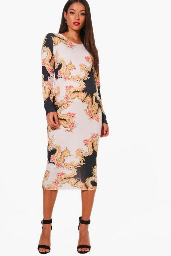 Maternity Floral Baroque Printed Midi Dress
