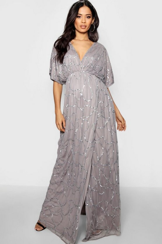 Womens Grey Maternity Wedding Plunge Wrap Front Maxi