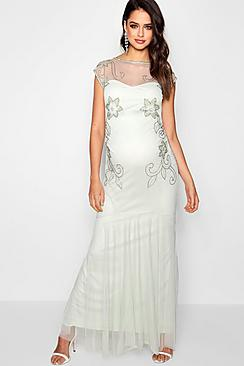 Vintage Style Maternity Clothes Maternity Wedding Embellished Fishtail Dress $104.00 AT vintagedancer.com