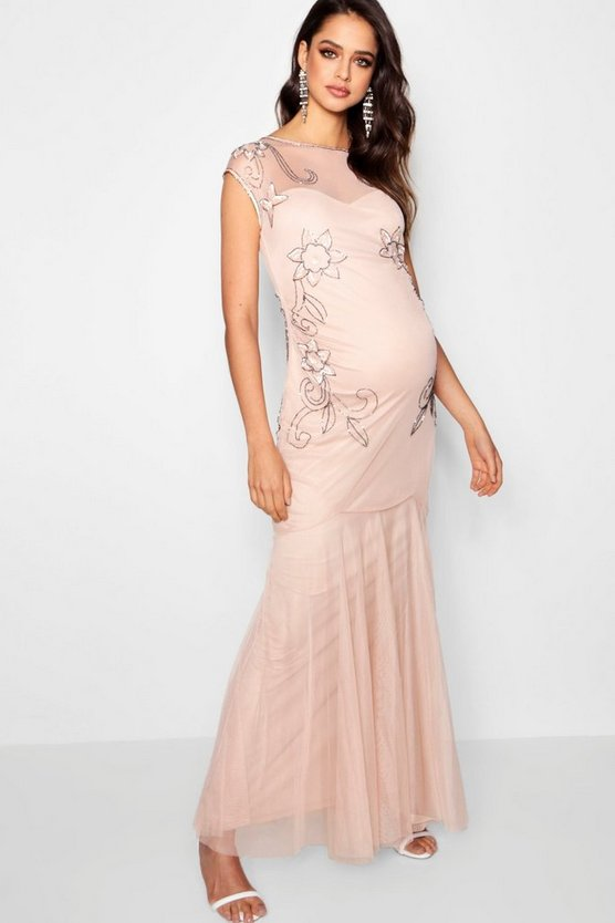 Maternity Wedding Embellished Fishtail Dress