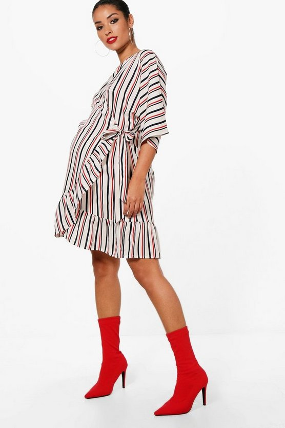 Maternity Stripe Wrap Ruffle Dress