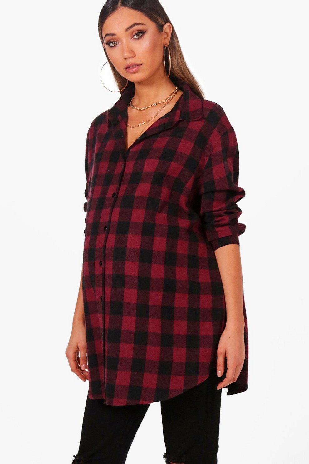 a98ea92003d48 Maternity Sophia Oversized Check Shirt | Boohoo