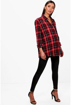 Womens Red Maternity Check Oversized Shirt
