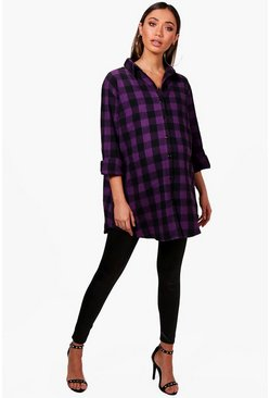 Purple Maternity Ella Oversized Check Shirt