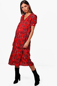 Vintage Style Maternity Clothes Maternity Floral Ruched Wrap Dress $30.00 AT vintagedancer.com