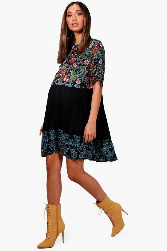 Maternity Floral Printed Smock Dress, Black, FEMMES