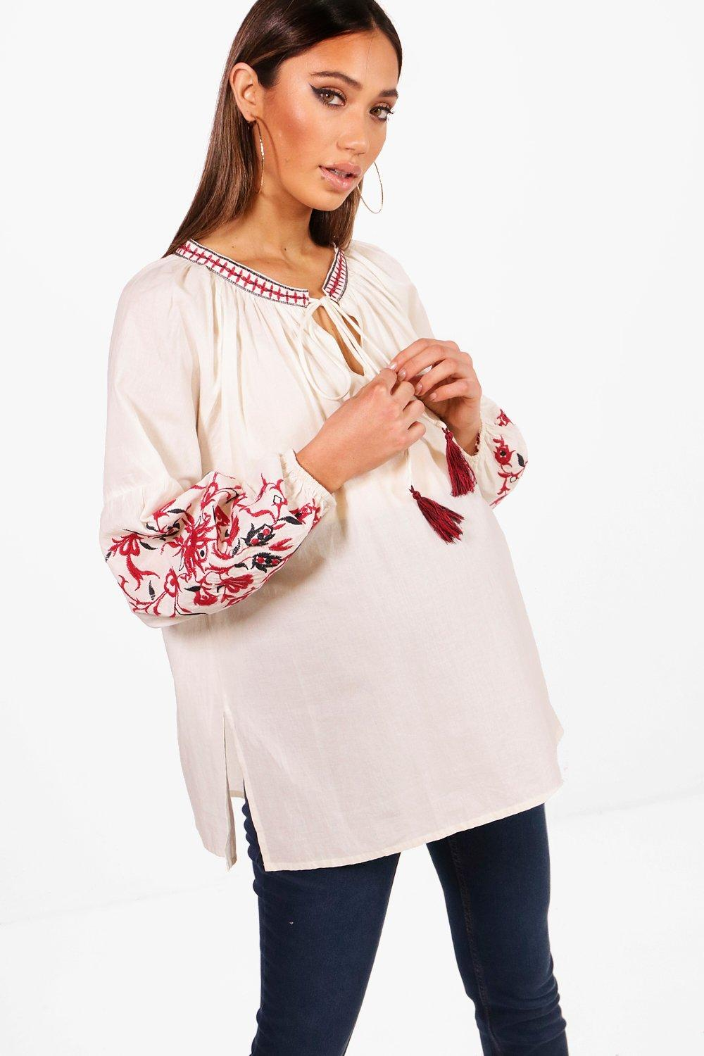 Maternity Embroidered Boho Blouse
