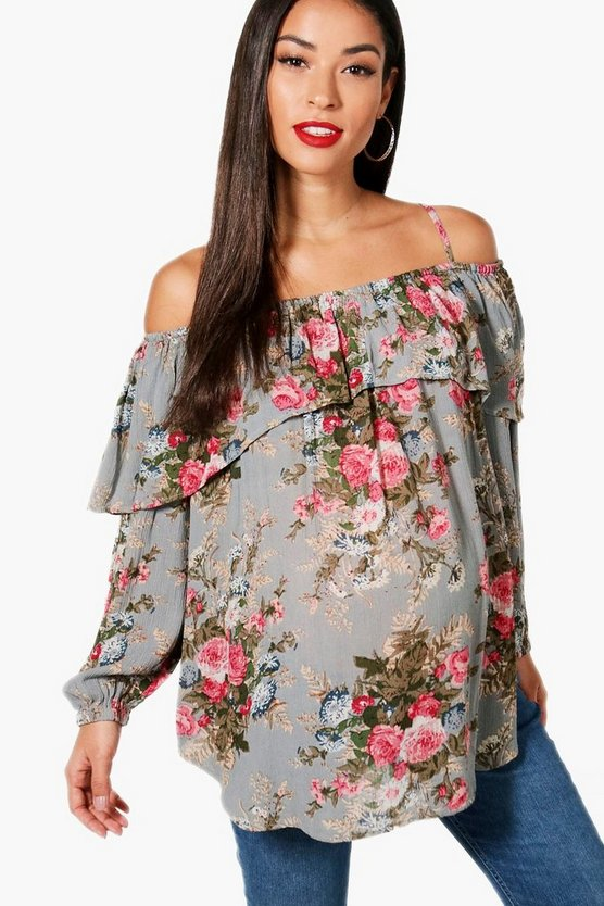 Womens Grey Maternity Floral Open Shoulder Top