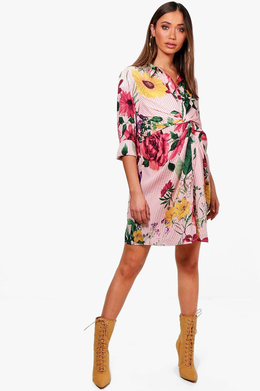 Shirt blush Twist Front Floral Maternity And Stripe qgwaaSX