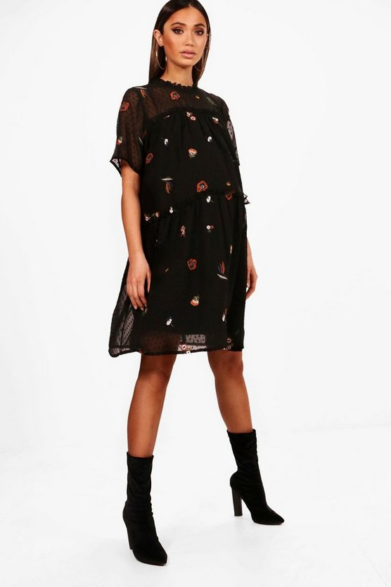Maternity Embroidered Smock Dress