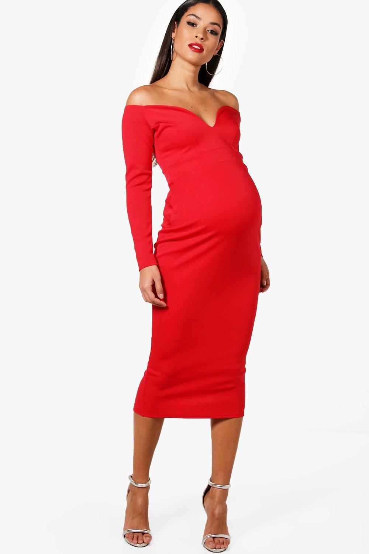 NEW-Boohoo-Womens-Maternity-Josie-Sweetheart-Bardot-Midi-Dress-in