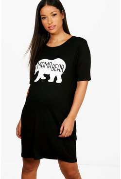 Womens Black Maternity  Mama Bear Nightie