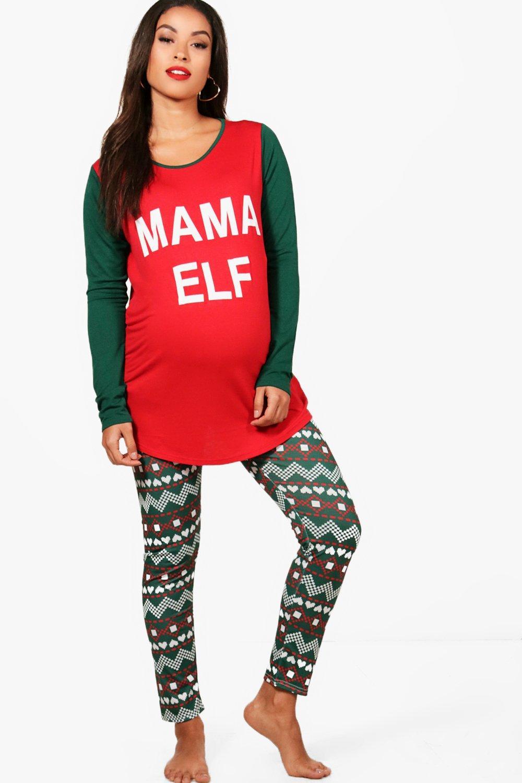 Christmas Pj.Maternity Ella Mama Elf Christmas Pj Set Boohoo