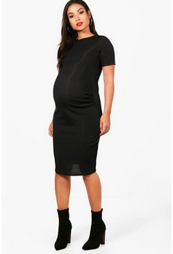 Black Maternity  Basic Rib Crew Bodycon Dress