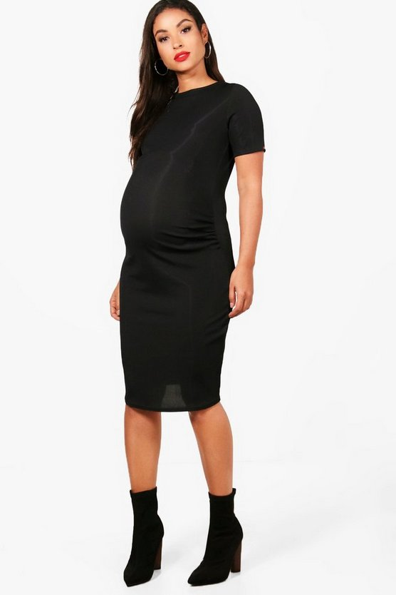 Womens Black Maternity  Basic Rib Crew Bodycon Dress