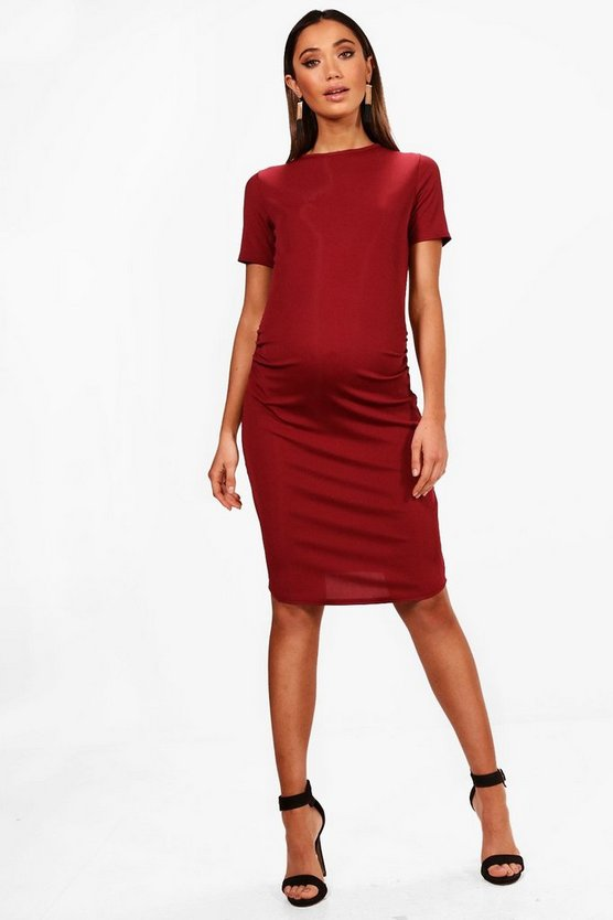 Maternity  Basic Rib Crew Bodycon Dress