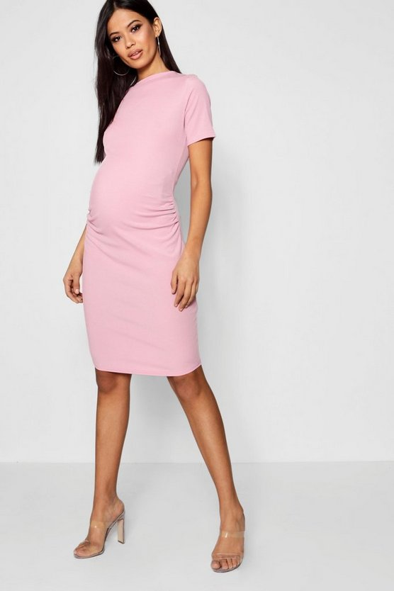 Womens Desert rose Maternity  Basic Rib Crew Bodycon Dress