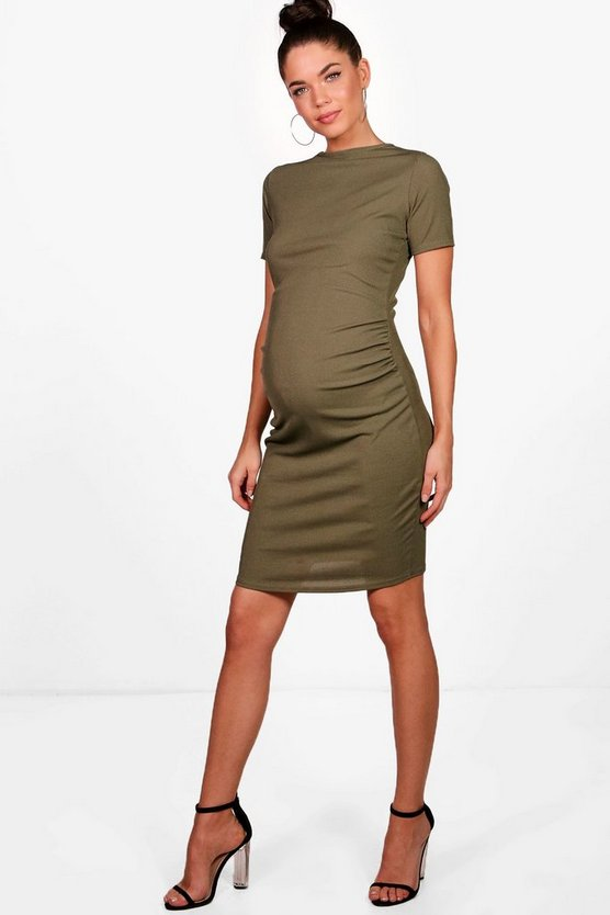 Womens Khaki Maternity  Basic Rib Crew Bodycon Dress