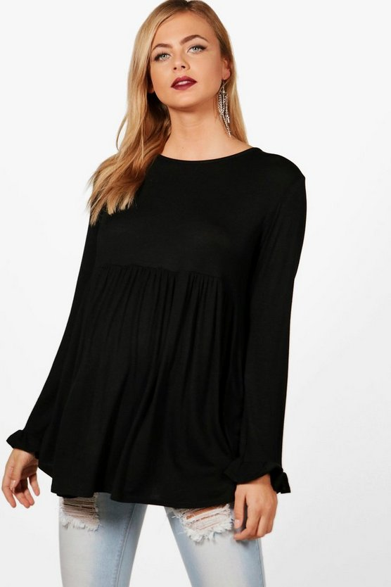 Maternity  Ruffle Long Sleeve Smock Top