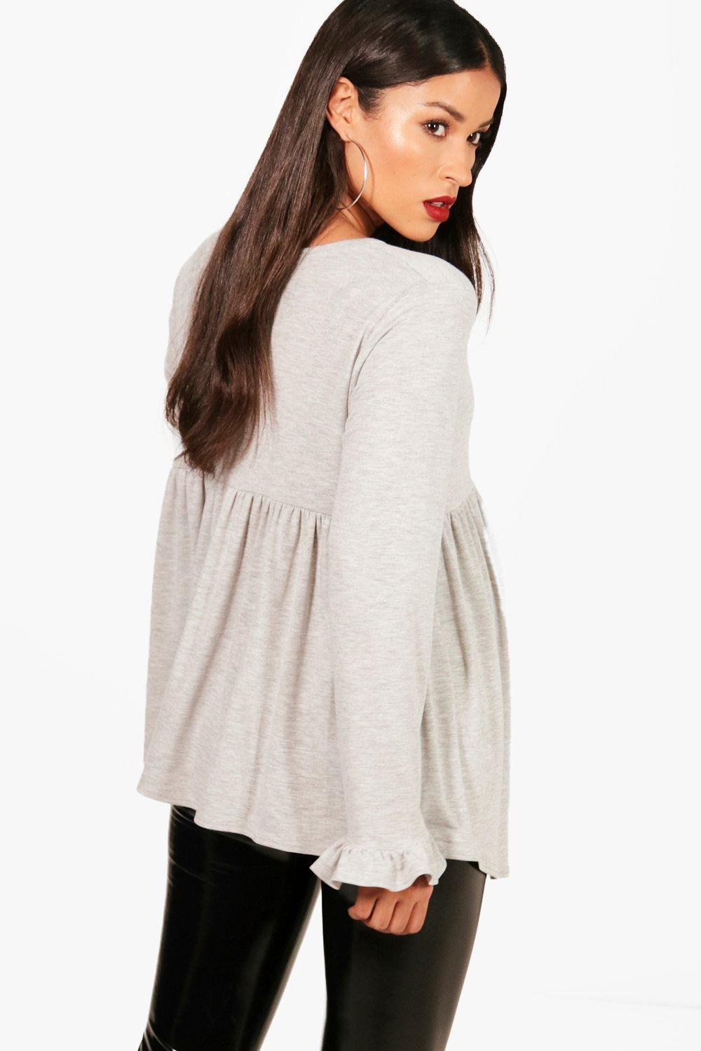 Top Ruffle grey Maternity Long Smock Sleeve a0wBCIq