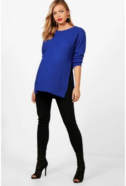 Womens Cobalt Maternity Side Split Moss Stitch Jumper