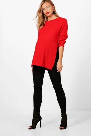 Womens Red Maternity Side Split Moss Stitch Jumper