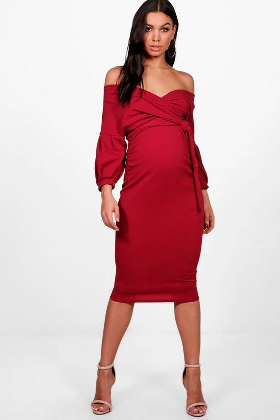 Womens Berry Maternity Off The Shoulder Wrap Midi Dress
