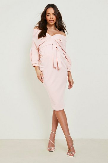 Coral blush Maternity Off The Shoulder Wrap Midi Dress