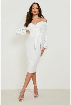Ivory Maternity Off The Shoulder Wrap Midi Dress