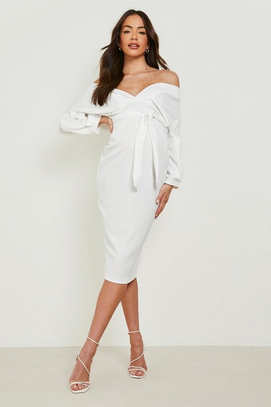 Womens Ivory Maternity Off The Shoulder Wrap Midi Dress