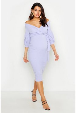 Womens Lilac Maternity Off The Shoulder Wrap Midi Dress