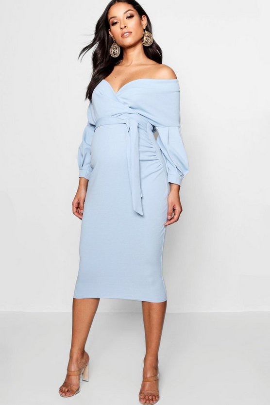 Sky Maternity Off The Shoulder Wrap Midi Dress