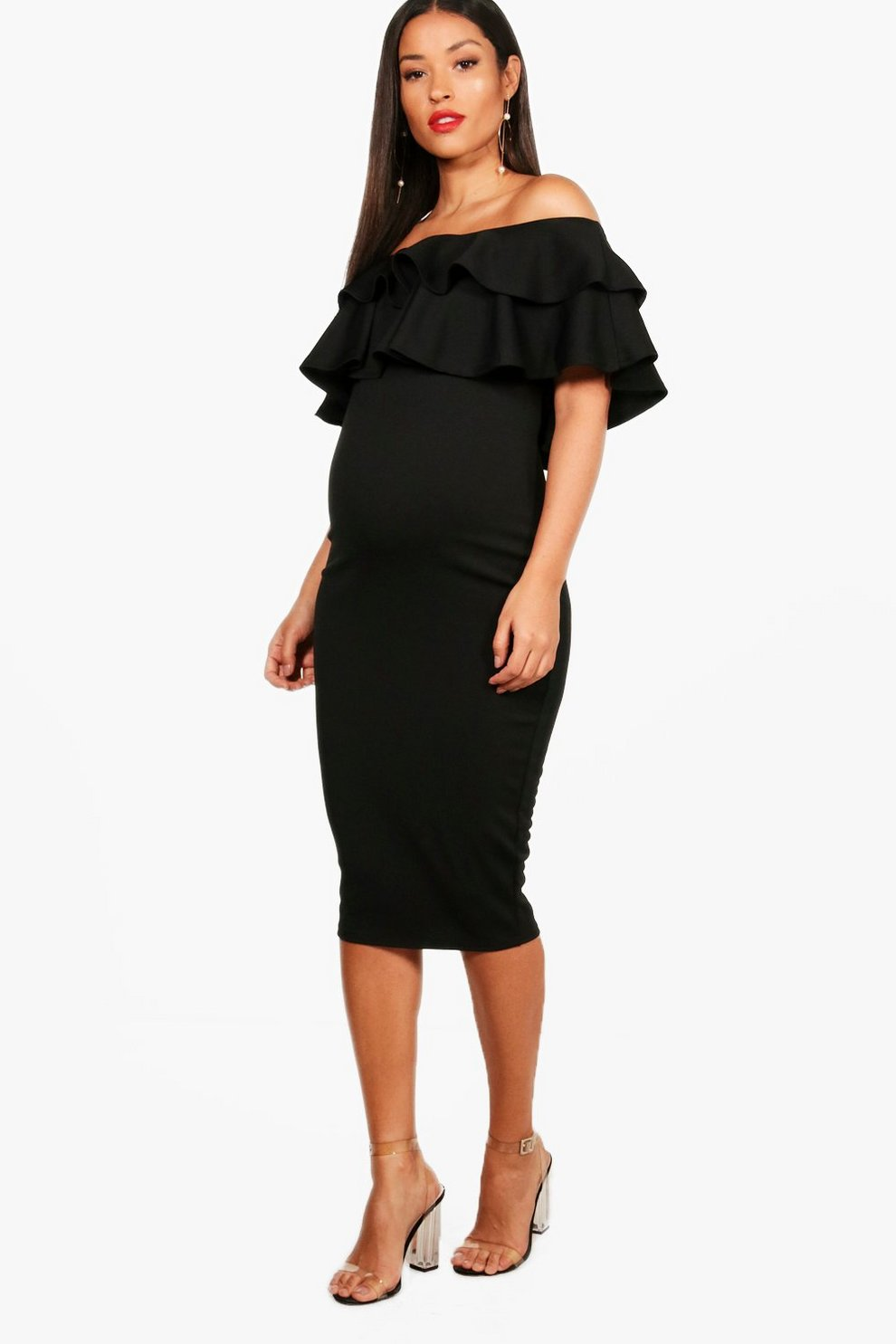 2c5cde3701557 Maternity Ruffle Off The Shoulder Midi Dress | Boohoo