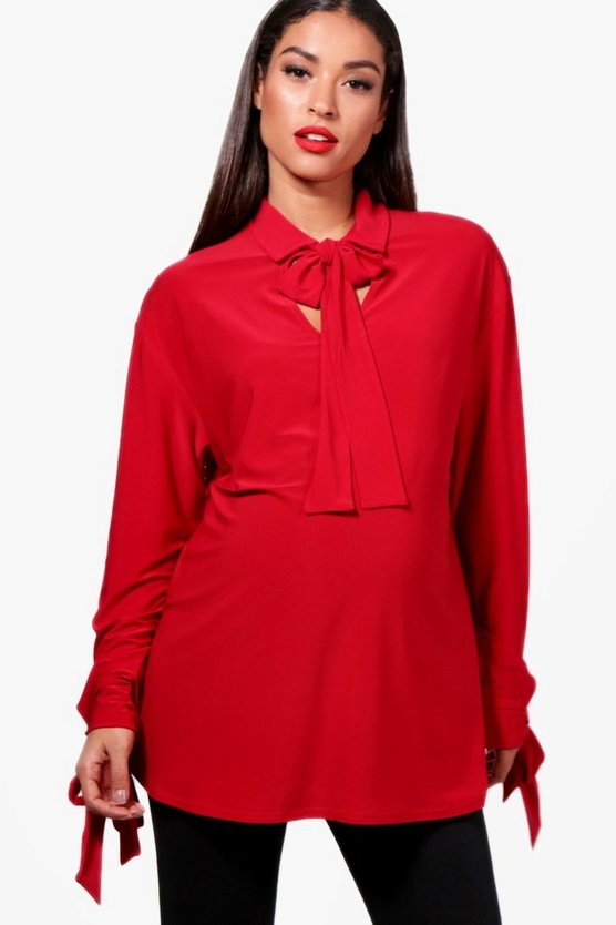 Womens Red Maternity Tie Neck Oversized Blouse