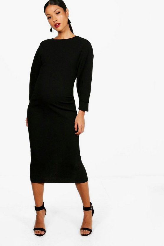 Maternity Textured Blouson Sleeve Midi Dress
