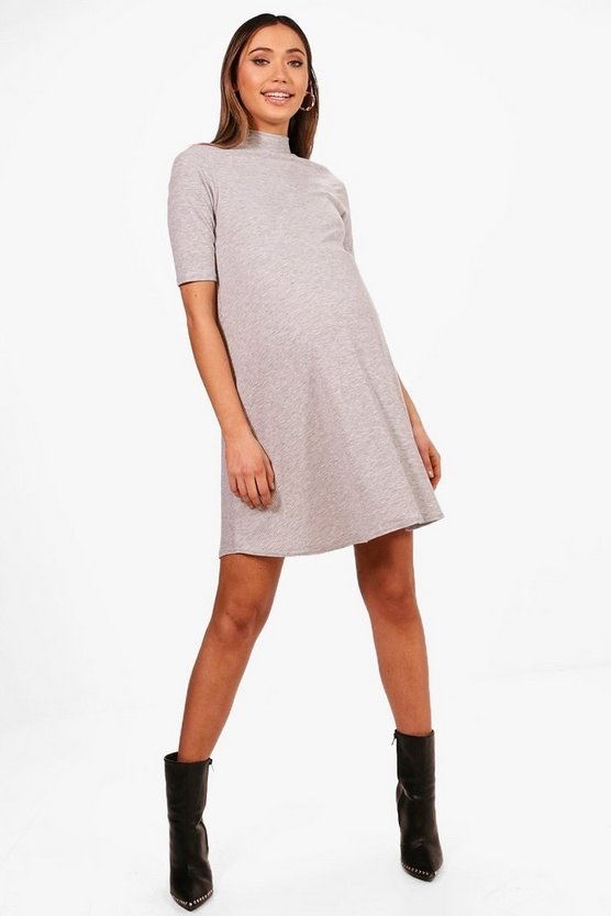Maternity Ribbed High Neck Swing Dress