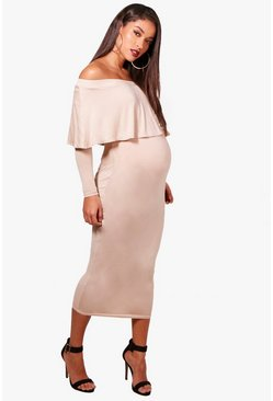 Womens Stone Maternity off The Shoulder Midi Dress