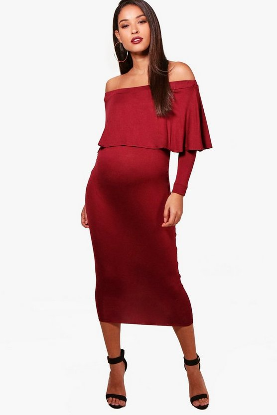 Maternity off The Shoulder Midi Dress
