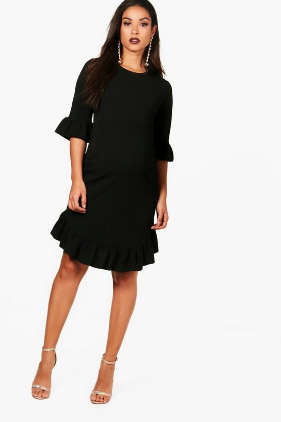 Womens Black Maternity Curve Hem Ruffle Shift Dress