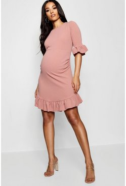 Womens Desert rose Maternity Curve Hem Ruffle Shift Dress