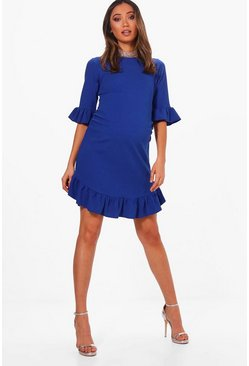 Womens Horizon blue Maternity Curve Hem Ruffle Shift Dress