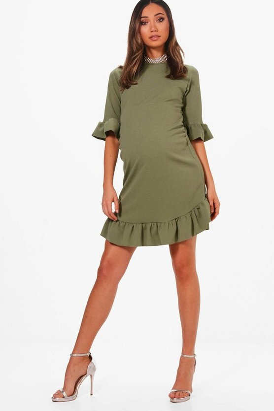 Maternity Curve Hem Ruffle Shift Dress