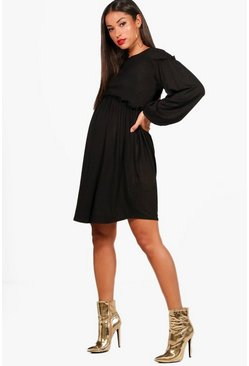 Black Maternity Long Sleeve Smock Dress
