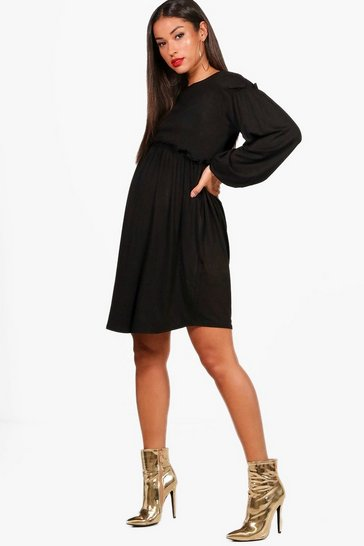 Womens Black Maternity Long Sleeve Smock Dress