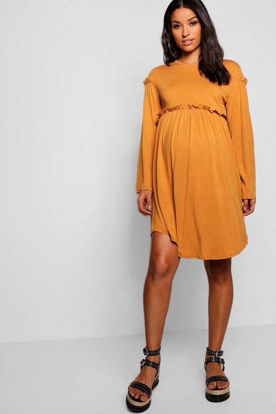 Womens Caramel Maternity Long Sleeve Smock Dress