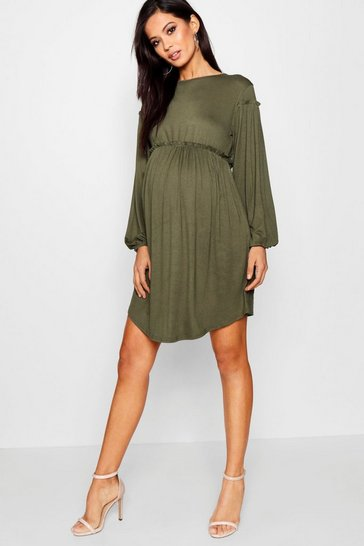 Khaki Maternity  Long Sleeve Smock Dress