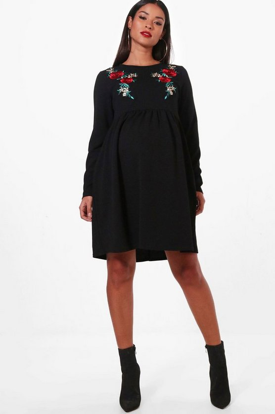 Maternity Long Sleeve Embroidered Smock Dress