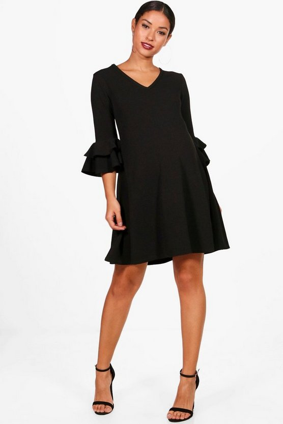 Womens Black Maternity Crepe Swing Ruffle Sleeve Dress